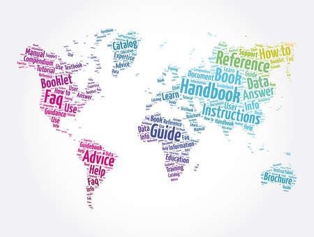 Handbook word cloud in shape of world map, concept background