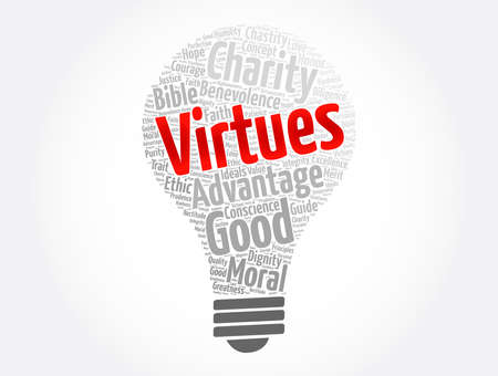 Virtues light bulb word cloud collage, concept background