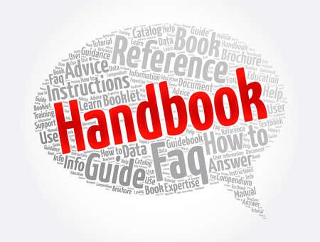 Handbook word cloud collage, concept background Ilustração Vetorial