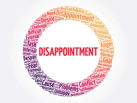 Disappointment word cloud, concept background Vektorové ilustrace