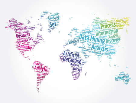 Data Mining - Technology Strategy word cloud in shape of world map, business concept background