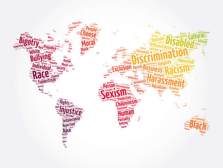 Discrimination word cloud in shape of world map, concept background
