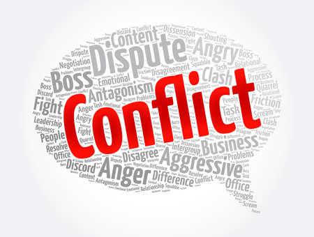 Conflict message bubble word cloud collage, concept background