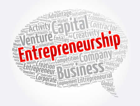 Entrepreneurship word cloud collage, business concept background