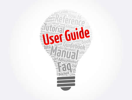User Guide word cloud collage, concept background