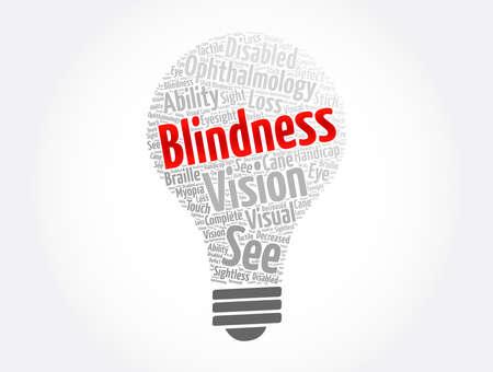 Blindness light bulb word cloud collage, medical concept background Vector Illustratie