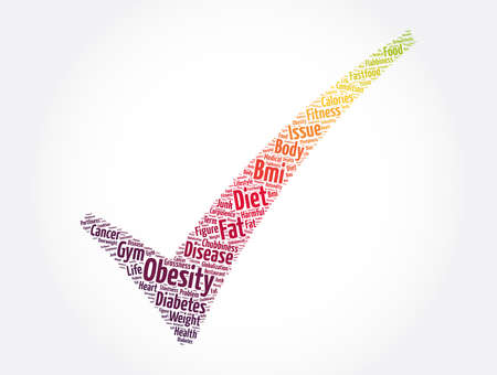 Obesity check mark word cloud collage, health concept background