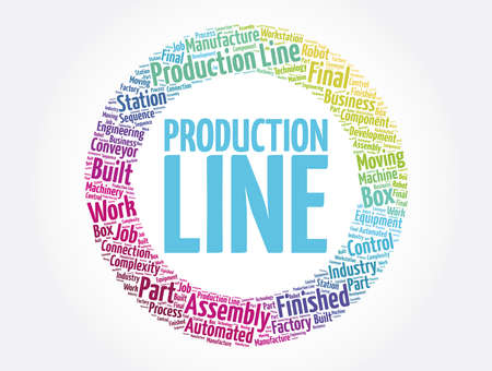 Production Line word cloud collage, business concept background