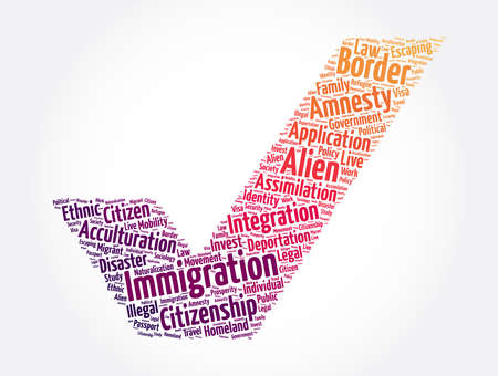 Immigration check mark word cloud collage, concept background