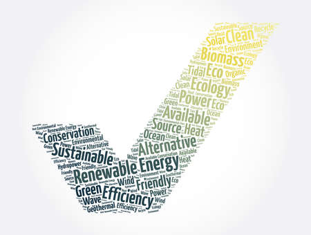 Renewable Energy check mark word cloud collage, concept background