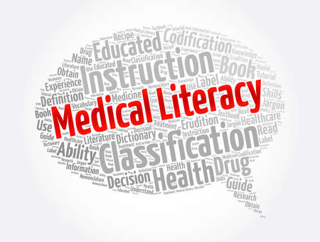 Medical Literacy message bubble word cloud collage, concept background