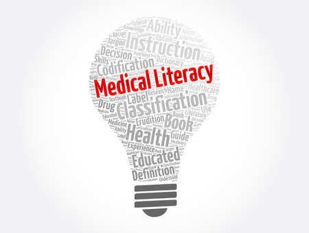 Medical Literacy light bulb word cloud collage, concept background