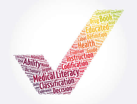 Medical Literacy check mark word cloud collage, concept background