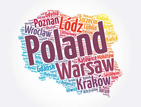 List of cities and towns in Poland, map word cloud collage, business and travel concept background