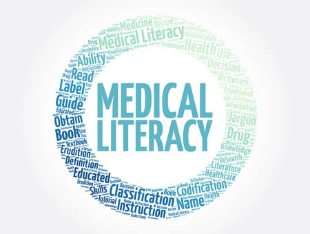 Medical Literacy word cloud collage, concept background