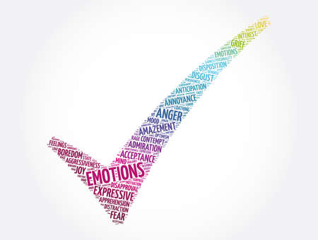 Emotions check mark word cloud collage, concept background