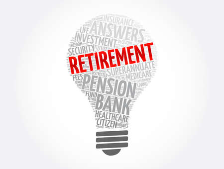 Retirement light bulb word cloud collage, concept background