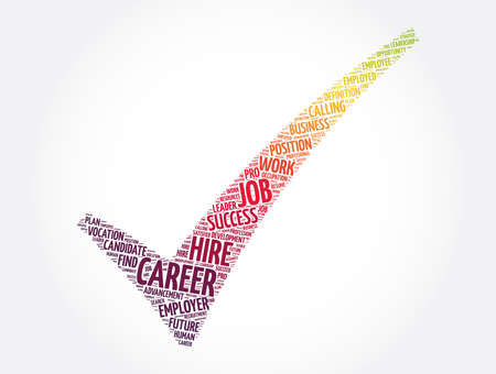 Career check mark word cloud collage, business concept background