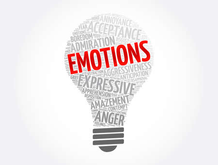 Emotions light bulb word cloud collage, concept background