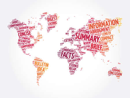 Summary word cloud in shape of world map, concept background
