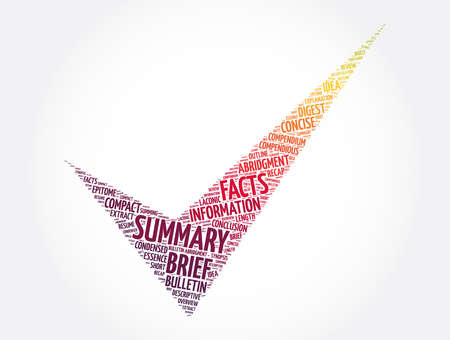 Summary check mark word cloud collage, concept background