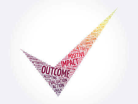 Outcome check mark word cloud collage, concept background