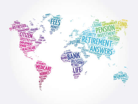 Retirement word cloud in shape of world map, concept background