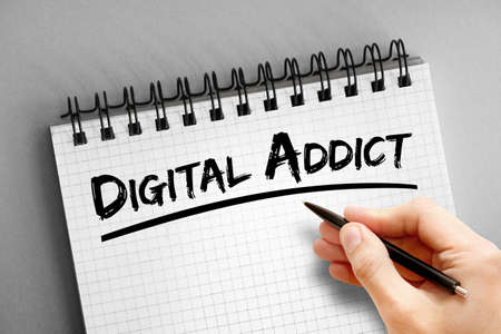 Digital addict text on notepad, concept background