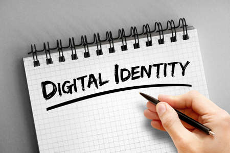 Digital identity text on notepad, concept background