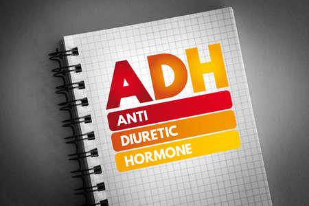 ADH - Antidiuretic Hormone acronym on notepad, concept background