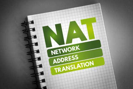NAT - Network Address Translation acronym on notepad, technology concept background