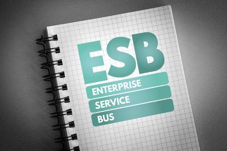 ESB - Enterprise Service Bus acronym on notepad, technology concept background 版權商用圖片
