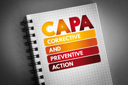 CAPA - Corrective and preventive action acronym on notepad, business concept background Stock Photo