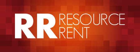 RR - Resource Rent acronym, business concept background Ilustracje wektorowe
