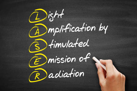 LASER - Light Amplification by Stimulated Emission of Radiation acronym, technology concept on blackboard