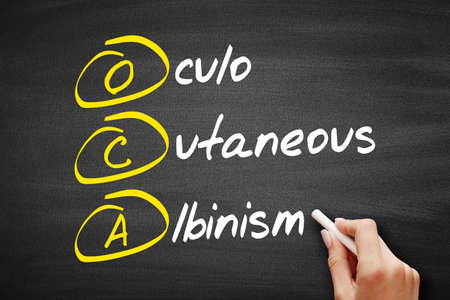 OCA - Oculo Cutaneous Albinism acronym, concept on blackboard