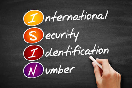 ISIN - International Security Identification Number acronym, business concept background on blackboard