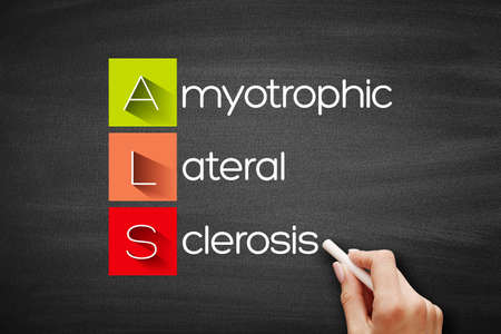 ALS - Amyotrophic Lateral Sclerosis acronym, medical concept background on blackboard