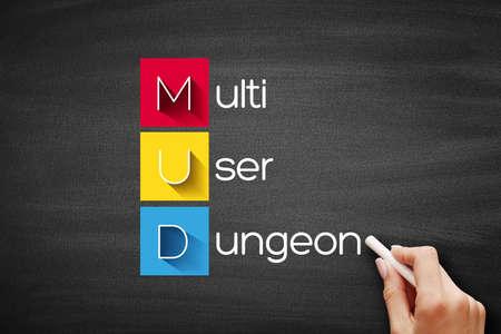 MUD - Multi User Dungeon acronym, technology concept on blackboard