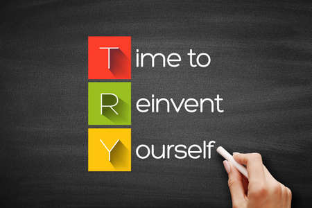 TRY - Time to Reinvent Yourself acronym, business concept background on blackboard Stock Photo
