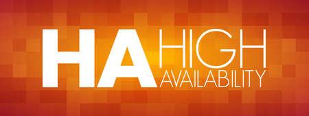HA - High Availability acronym, technology concept background Ilustración de vector