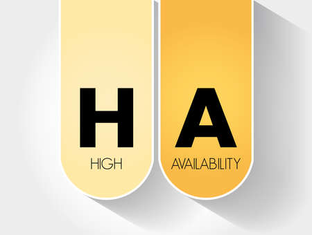 HA - High Availability acronym, technology concept background