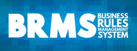 BRMS - Business Rules Management System acronym, concept background Vecteurs