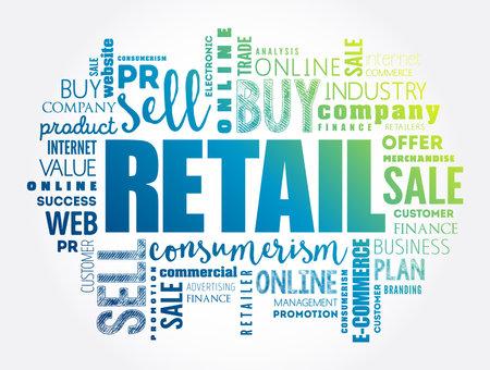 Retail word cloud collage, business concept background Vecteurs