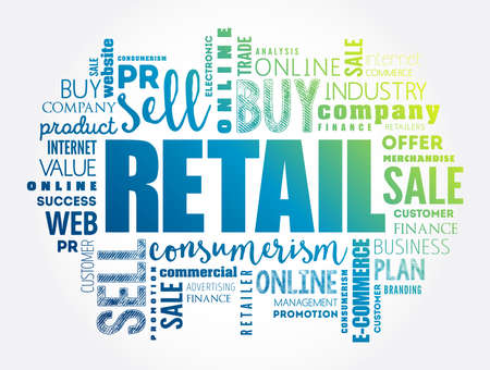 Retail word cloud collage, business concept background Vektoros illusztráció