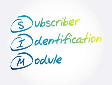 SIM - Subscriber Identification Module acronym, technology concept background