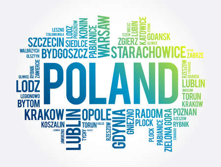 List of cities and towns in Poland, word cloud collage, business and travel concept background Ilustracje wektorowe