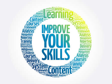 Improve Your Skills circle stamp word cloud, business concept