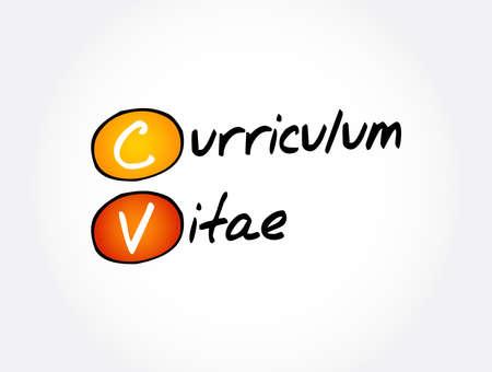 CV - Curriculum Vitae acronym, business concept background Vektorgrafik