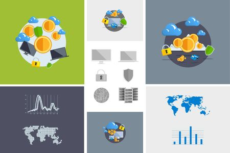 virtual world: Flat modern design vector illustration and icon. Concept electronic commerce. Bitcoin mining. Cloud technology. Virtual money. Infographic Element. Network Earnings. Digital World map, graph, diagram